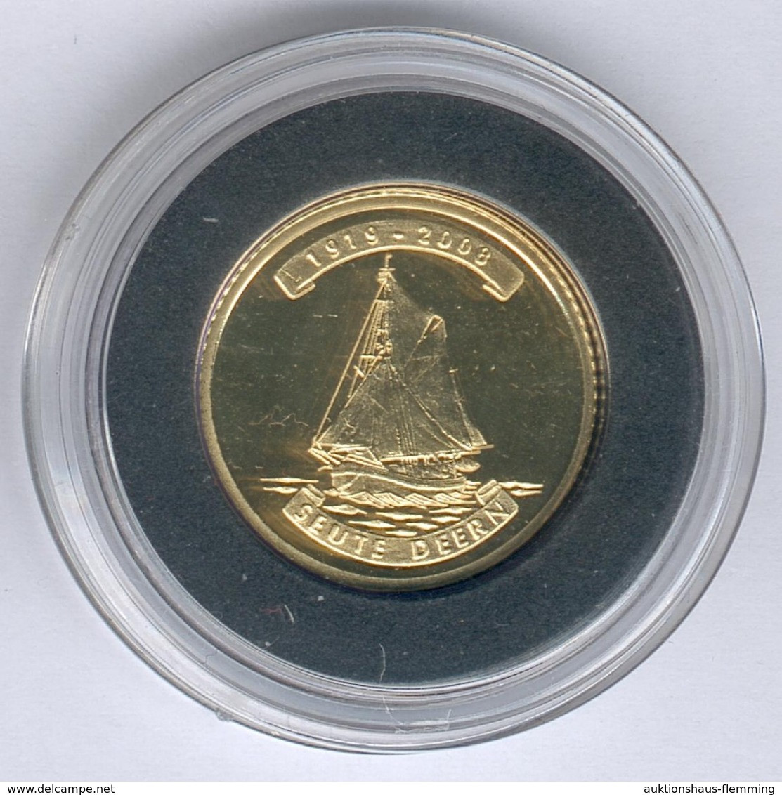 "Nordkorea 10 Won 2008 Segelschiff ""SEUTE DEERN"" - 1g 917er Gold, Durchmesser: 16mm, Mit Zertifikat, PP- - Korea, North"