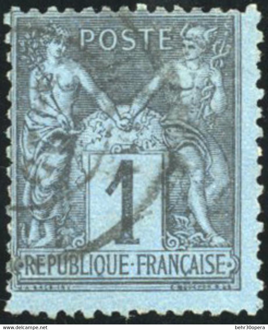 O 84 -  1c. Bleu De Prusse. Décentré. Obl. - 1876-1878 Sage (Type I)