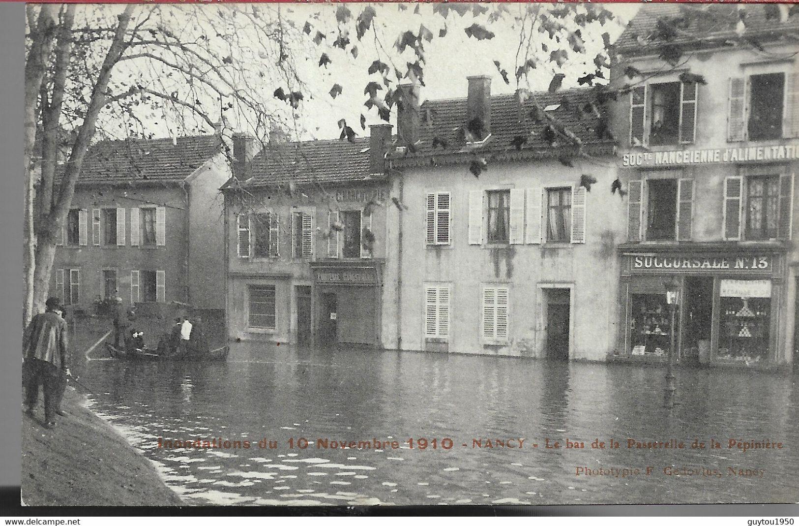 Nancy Inondations 1910  Le Bas De La Passerelle De La Pépinière - Nancy