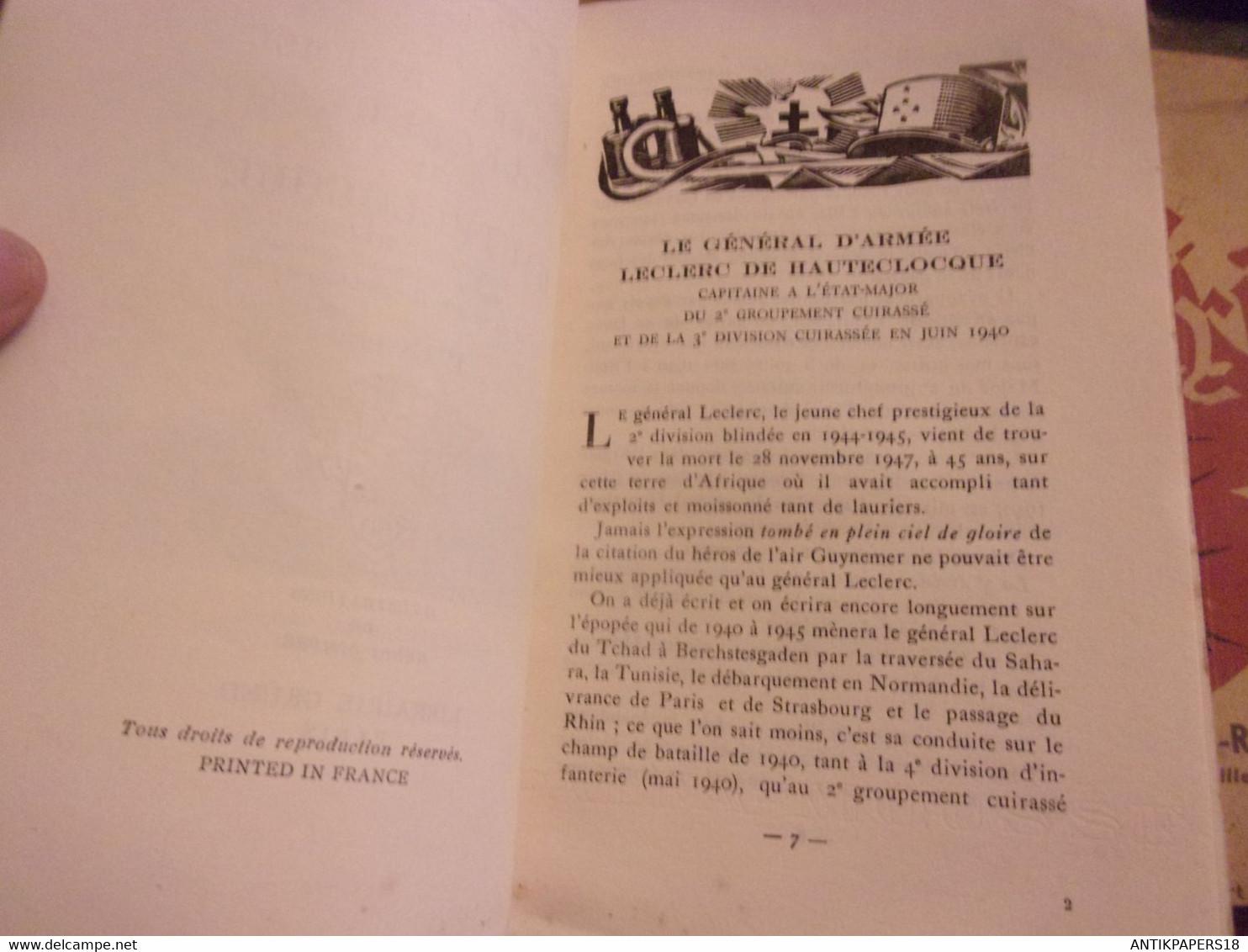 WWII Le Général D'armée Leclerc De Hauteclocque - Capitaine à L'état Major Du 2ème Groupement Cuirassé En Juin 1940 EX N - 1939-45