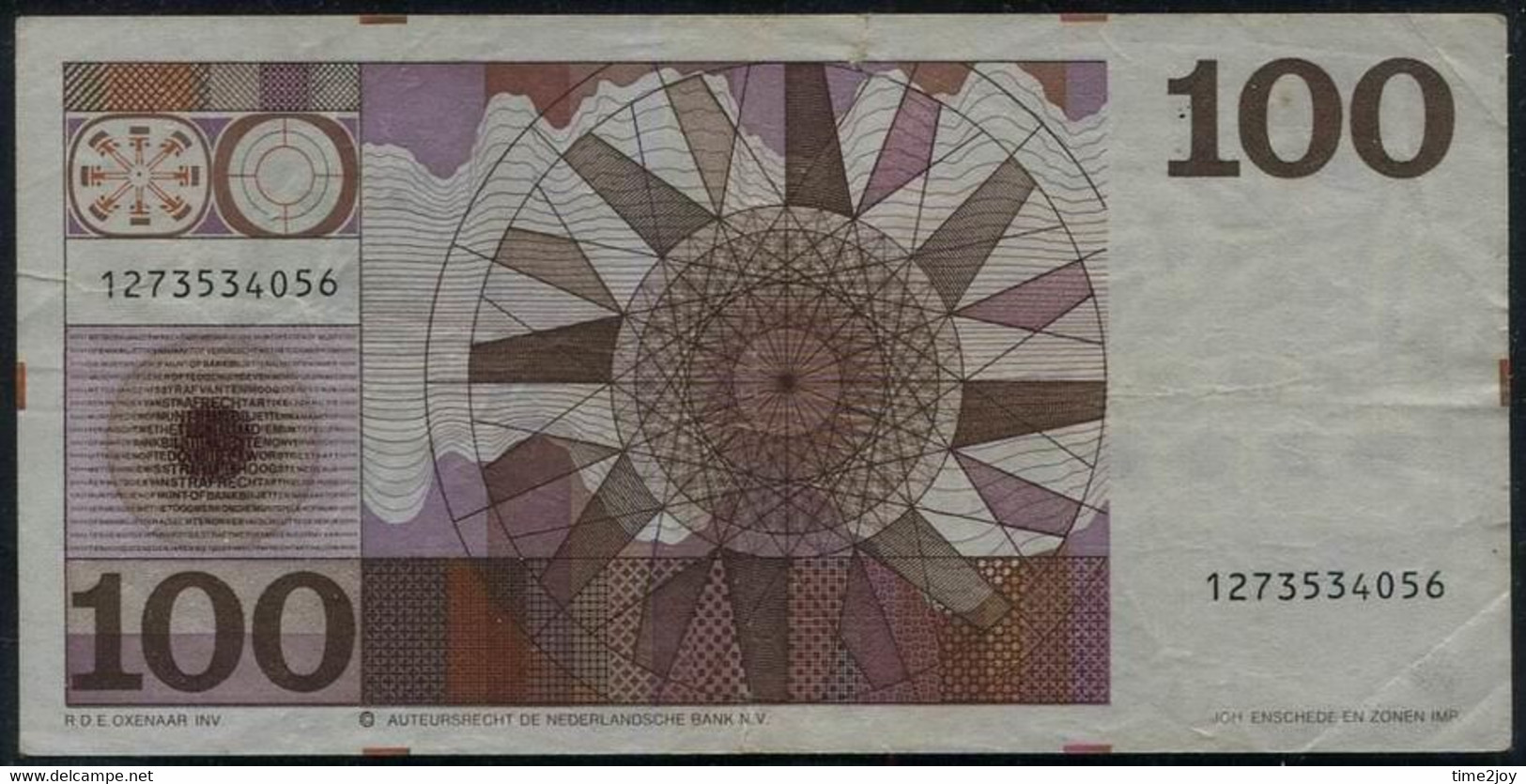Netherlands 100 Gulden. Neerlandsche Bank Note. Pick #p93. 1970 - Altri