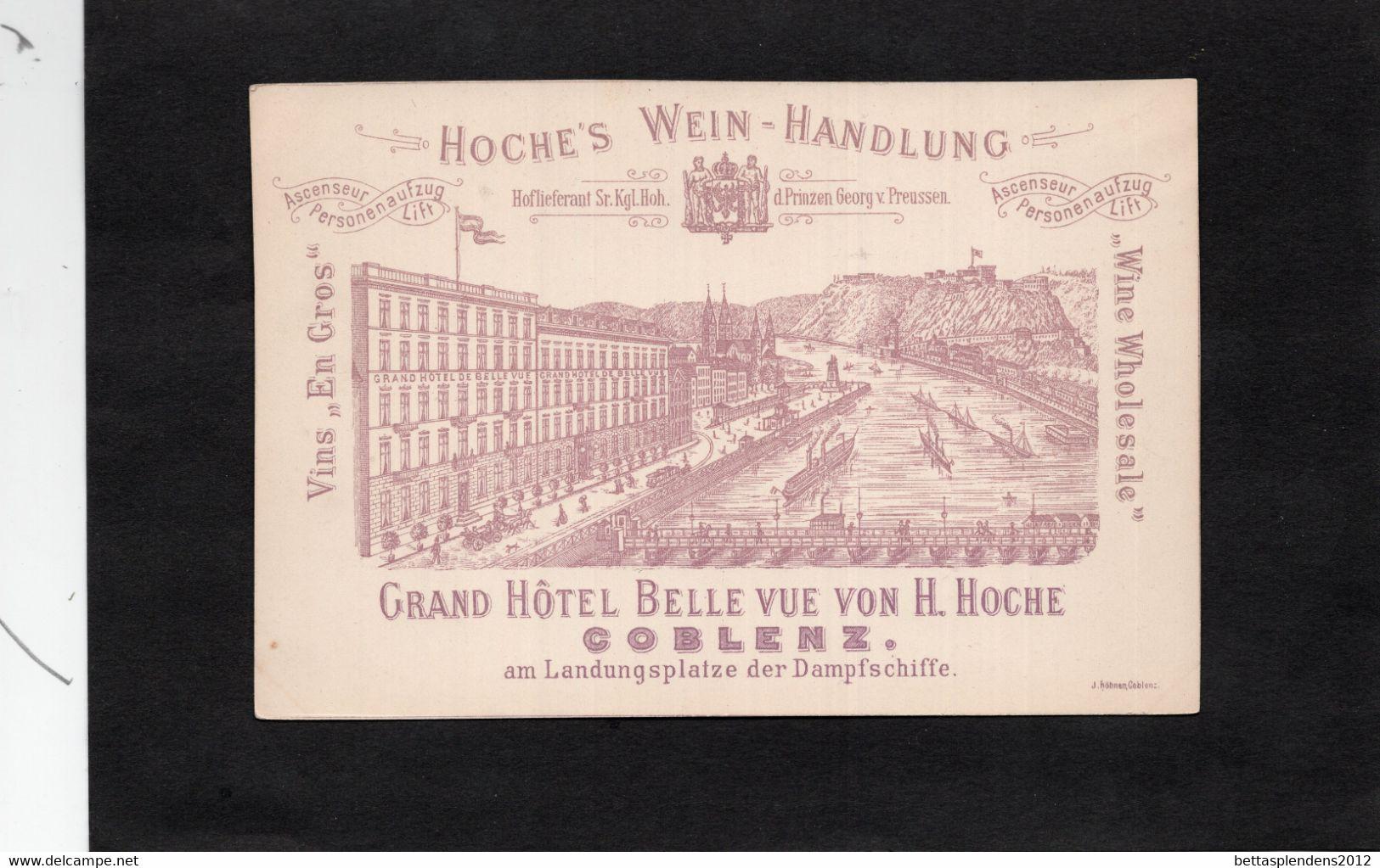 ALLEMAGNE - COBLENZ - GRAND HOTEL BELLE VUE VON H. HOGHE - HOCHE'S WEIN HANDLUNG -  Carte Publicitaire Hôtel - Unclassified