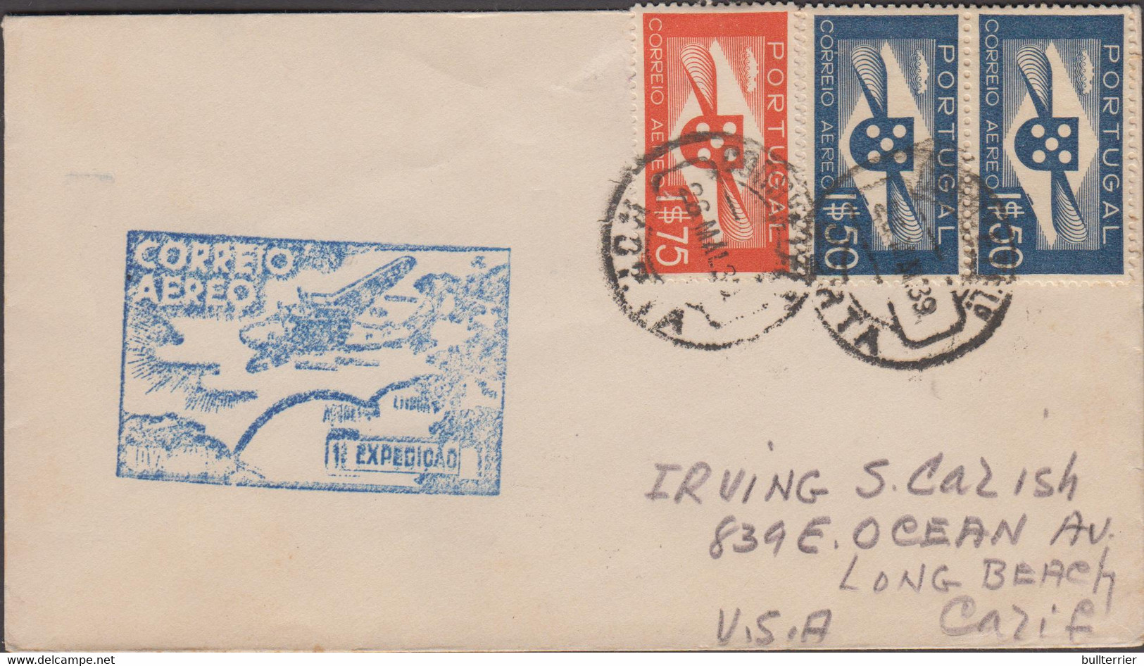 HORTA  - AZORES  -1939 - FIRST FLIGHT COVER TO LONG BEACH CALIFORNIA  WITH BACK STAMP - Horta