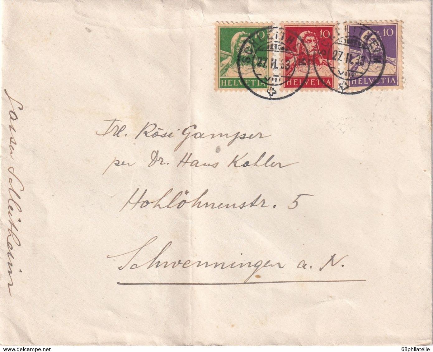 SUISSE 1933 LETTRE  DE SCHLEITHEIM - Lettres & Documents