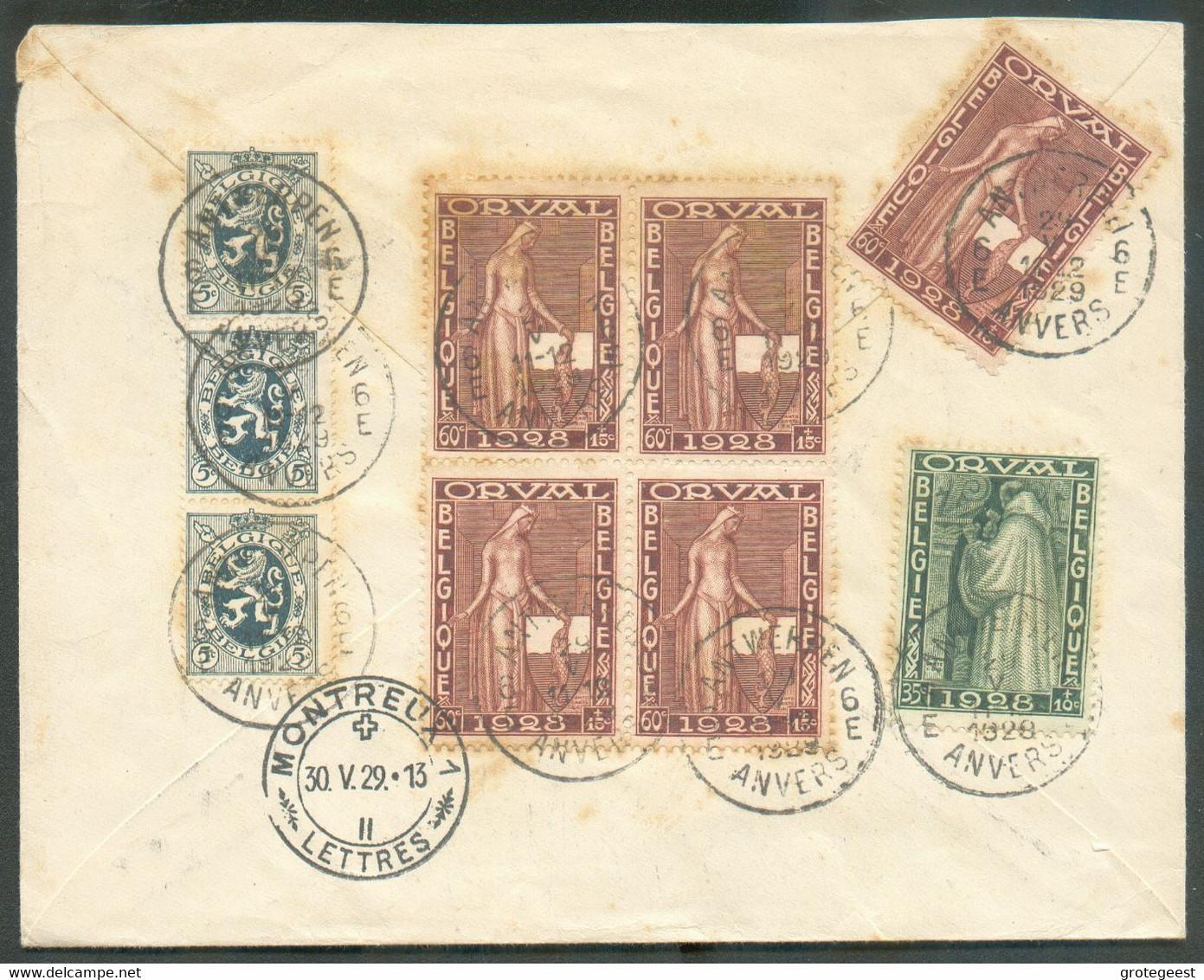 Lettre Recommandée De ANTWERPEN 29-V-1929 Avec Affranchissement ORVAL à 3Fr.50 Vers Montreux (Suisse).TB - 16336 - Briefe U. Dokumente