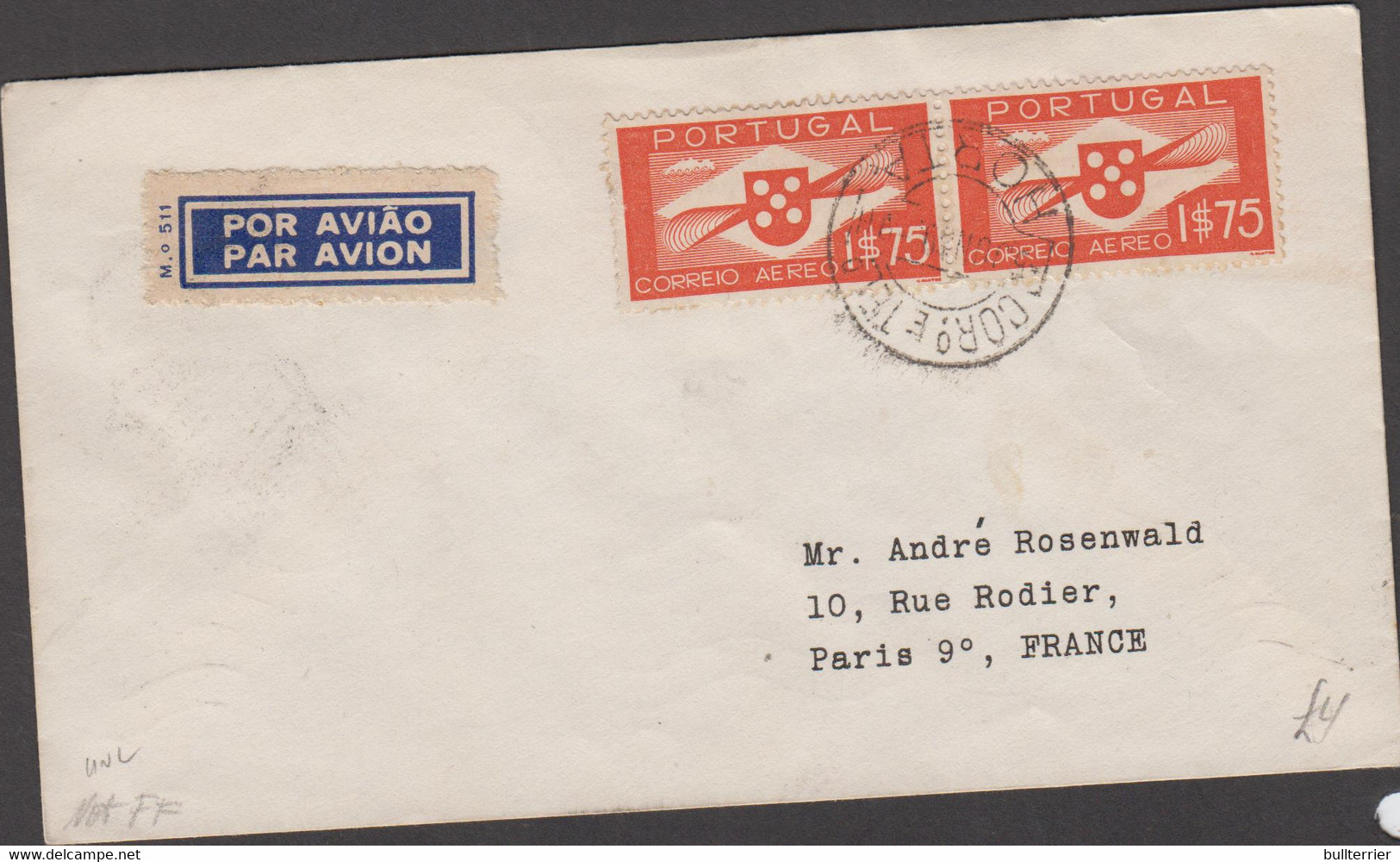 HORTA  - 1939 - AIRMAIL COVER HORTA TO PARIS WITH BACKSTAMPS - Horta