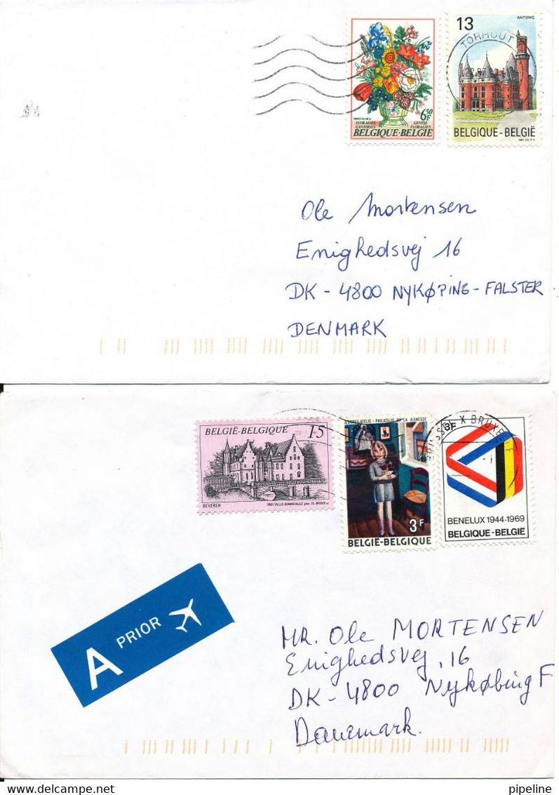 Belgium 2 Covers Sent To Denmark - Covers & Documents