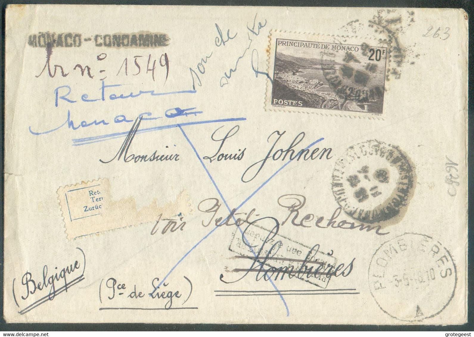 Lettre De MONACO Le 12-4-1946 + Griffe MONACO-CONDAMINE Vers Petit Rechain PLOMBIERES (cantons De L'Est - Arrivée Le 3-5 - Sonstige