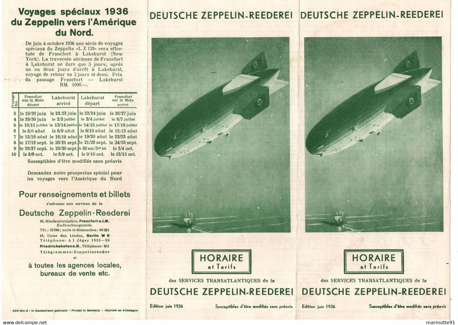 DEUTSCHE ZEPPELIN REEDEREI HORAIRE TARIFS 1936 ALLEMAGNE AMERIQUE DU NORD - World