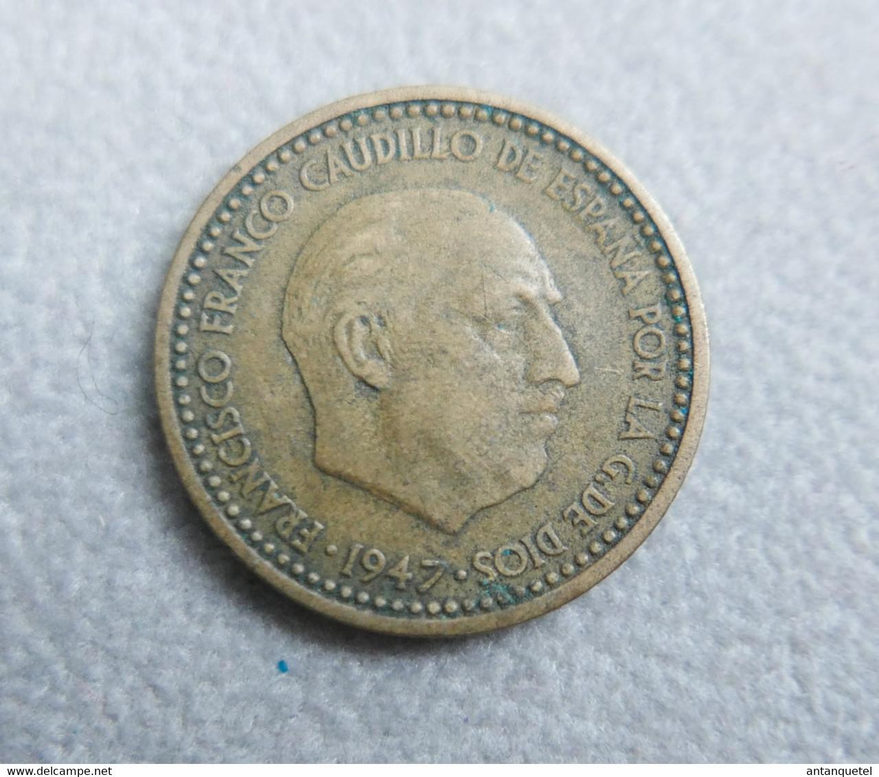 Monnaie D'Espagne—1 Peseta—Franco 1re Effigie—1947—Etat Moyen - 1 Peseta