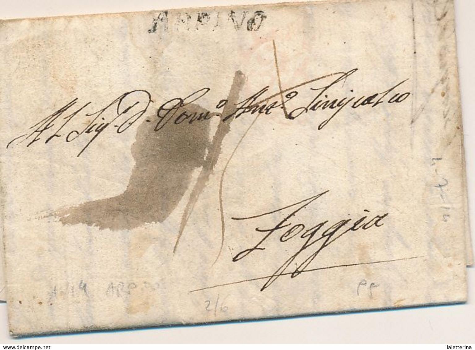 1814 REGNO DI NAPOLI PERIODO GIOACCHINO NAPOLEONE MURAT PREFILATELICA ARPINO LINEARE NERO TASSA 15 X FOGGIA - ...-1850 Préphilatélie