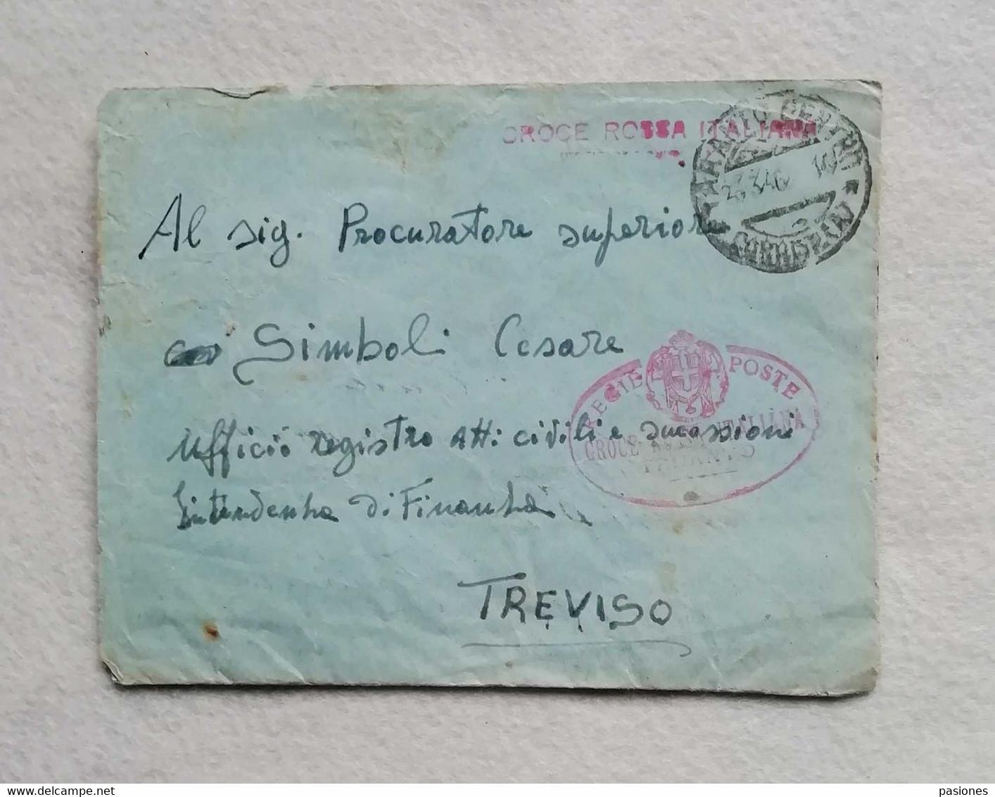 Busta Di Lettera Da Taranto Per Treviso 1946 Con Timbro Regie Poste Croce Rossa Italiana - Marcofilía