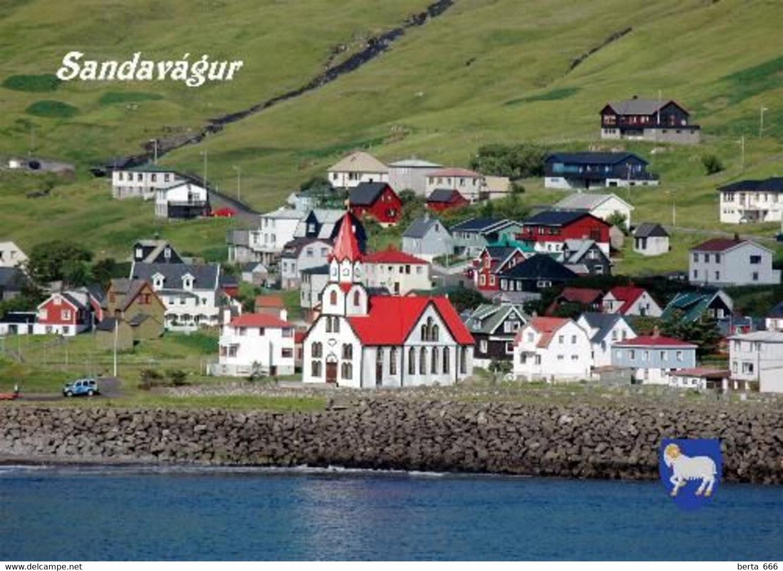 Faroe Islands Vagar Sandavagur View Church New Postcard Färöer AK - Färöer
