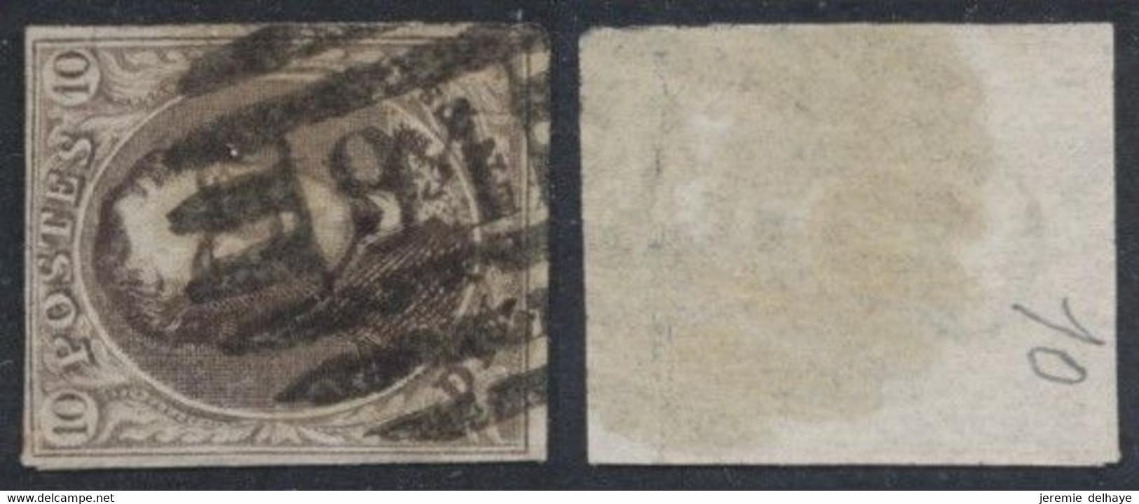 "Médaillon - N°10 Margé Obl P91 (8 Barres) ""Frameries"" / COBA : 10 - 1858-1862 Medallions (9/12)"