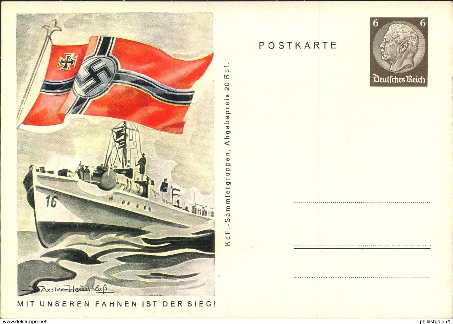 """1941, Propaganda-Ganzsache """"MIT UNSEREN FAHNEN IST DER SIEG"""", Komplete Serie Sauber Ungebraucht. - Stamped Stationery"""