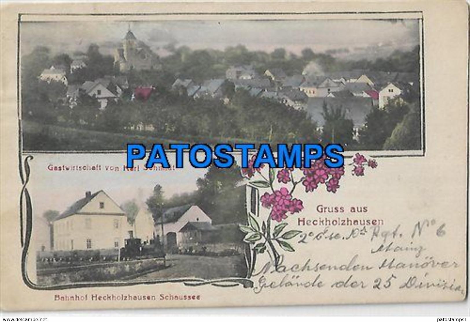 145831 GERMANY GRUSS AUS HECKHOLZHAUSEN MULTI VIEW & TRAIN POSTAL POSTCARD - Ohne Zuordnung