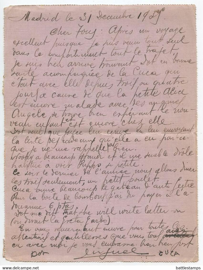 Spain 1935 Lettercard Madrid To Paris France, Scott 528 547 549 - 1931-50 Cartas