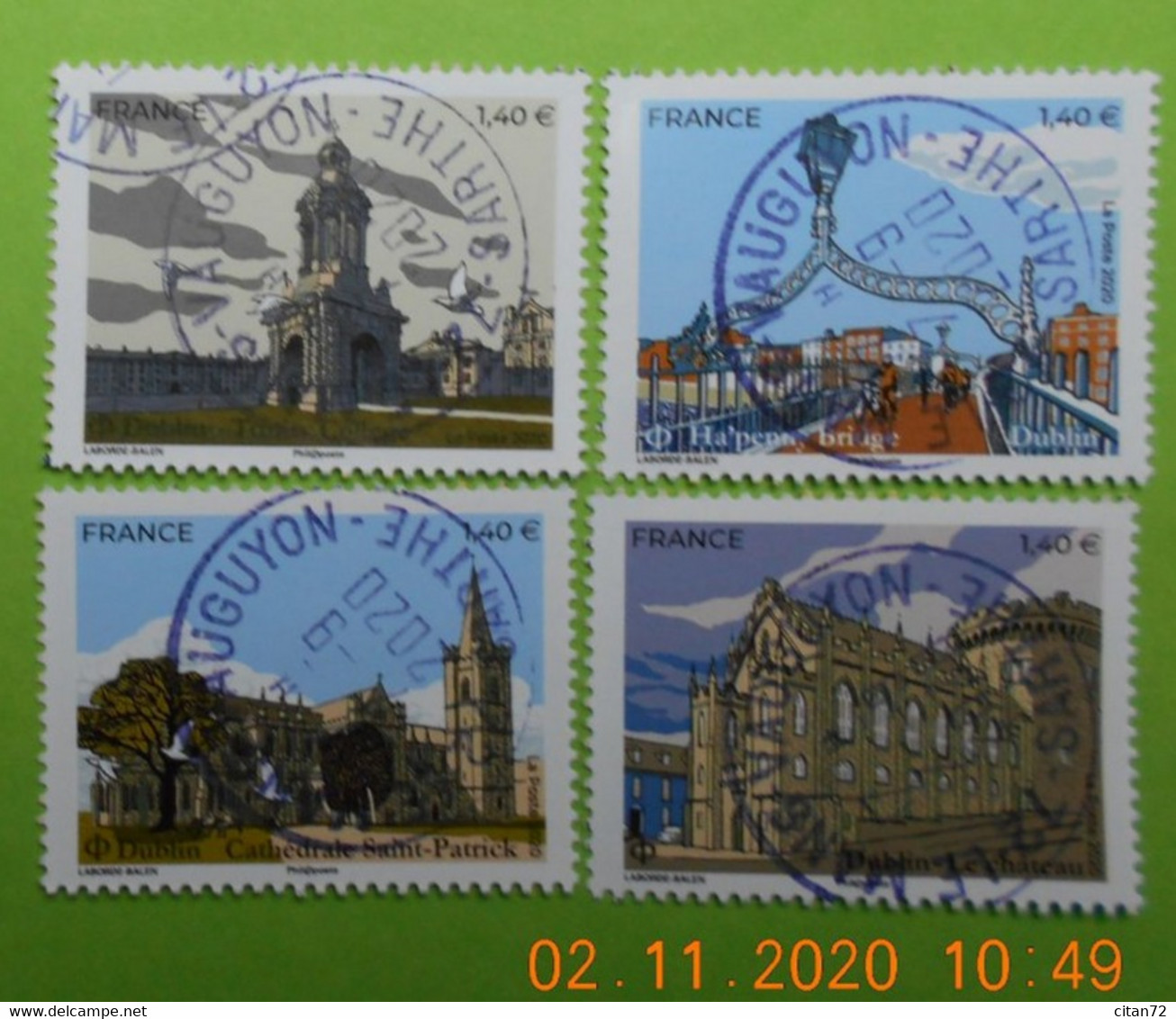 FRANCE 2019   YT N°5307-5310     DU  FEUILLET  CAPITALES EUROPEENNES  HELSINKI    Timbres  Neufs  Cachets   RONDS - Used Stamps