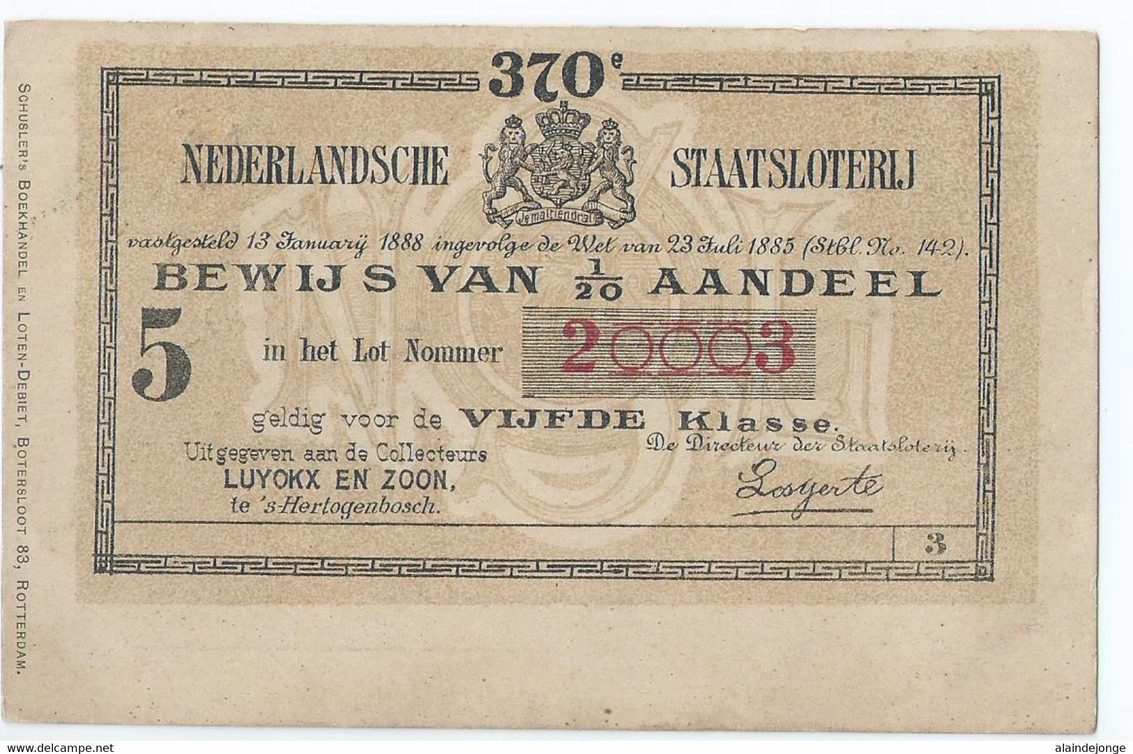 's Hertogenbosch - Nederlandsche Staatsloterij - Bewijs Van Aandeel - Uitgegeven Aan De Collecteurs Luyckx & Zn. 1903 - 's-Hertogenbosch