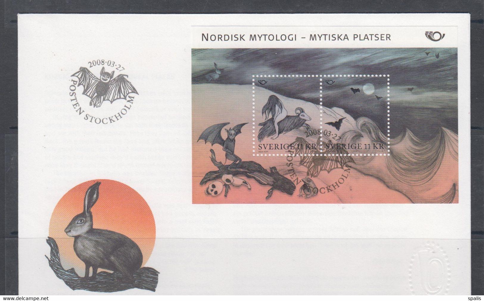 Sweden 2008 Mi Bl 28 FDC Nordic Mythology - Non Classés