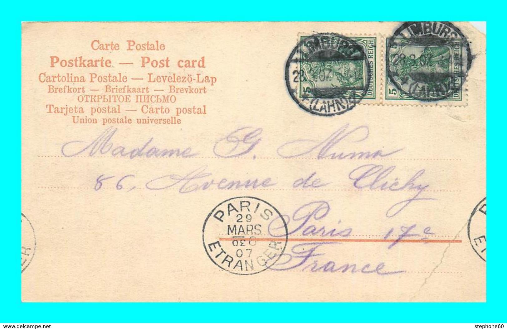 A898 / 375  Cachet Alsace Lorraine LIMBURG 1907 - PARIS ETRANGER - Alsace Lorraine