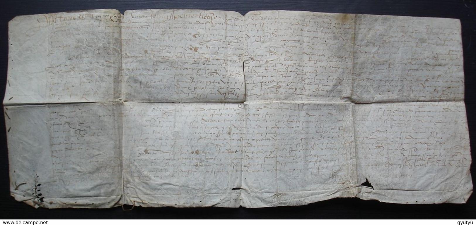 1558 Giat Diocèse De Clermont Grand Parchemin, échange D'héritages Barnabé Richon Et Anna Garay, Veuve Richon - Manuscripts
