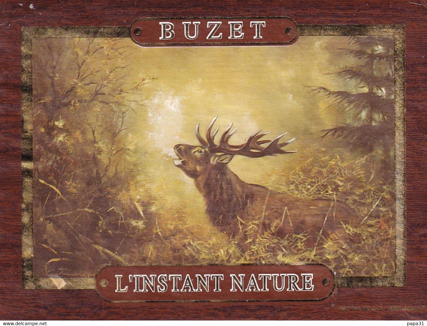 """Etiquette  - BUZET  """" L'INSTANT NATURE """" 1994 ( Un Cerf) - Unclassified"""