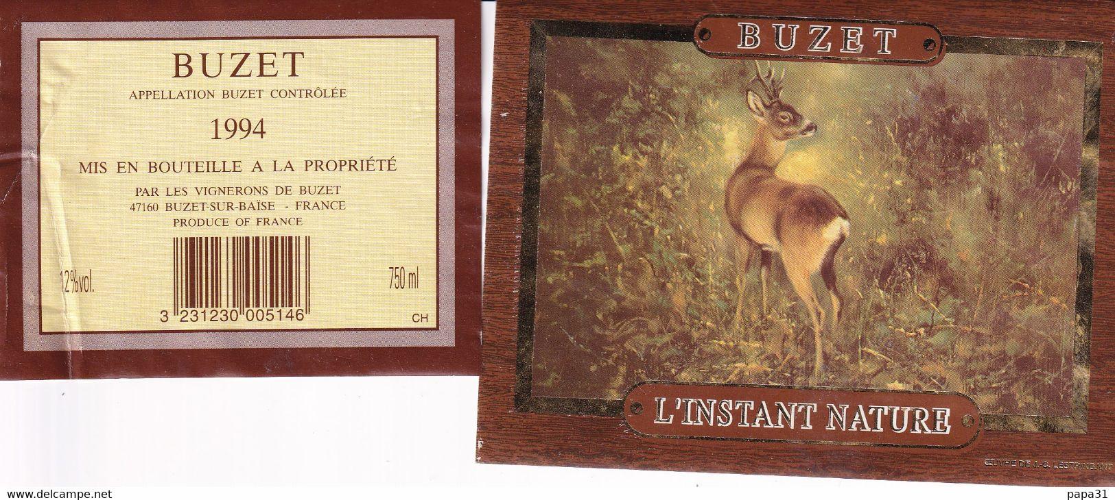 """Etiquette  - BUZET  """" L'INSTANT NATURE """" 1994 ( Une Biche) - Unclassified"""
