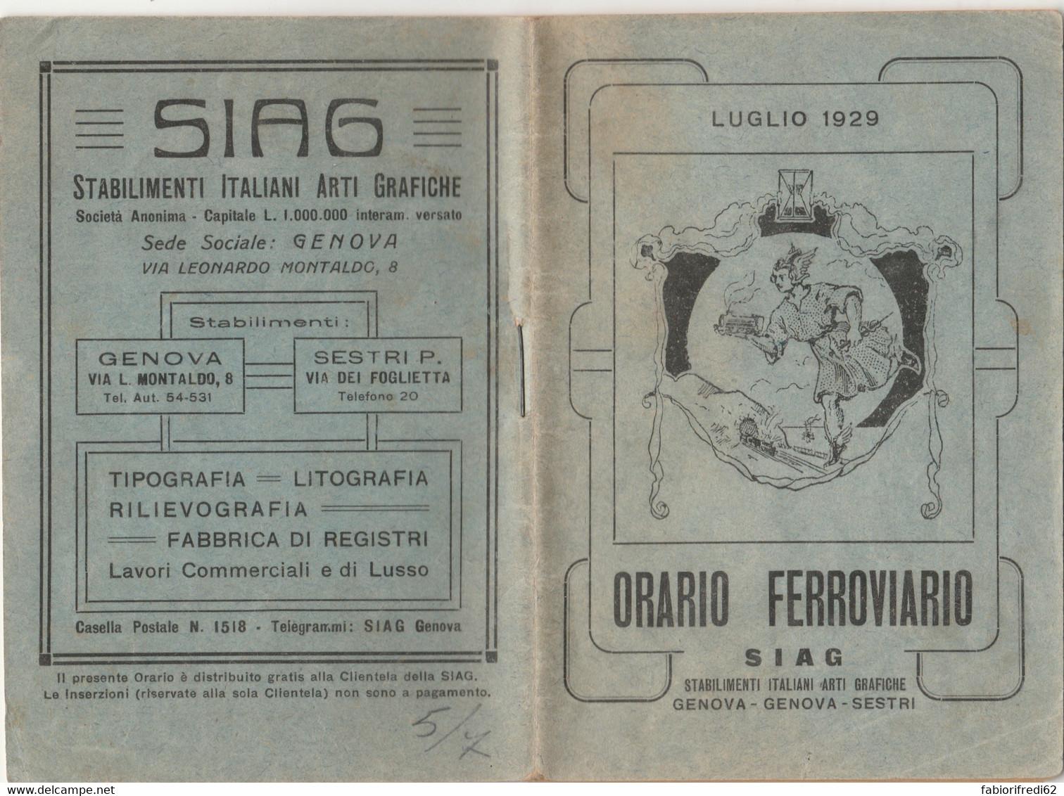 ORARIO FERROVIARIO 1929 SIAG (XF101 - Europe