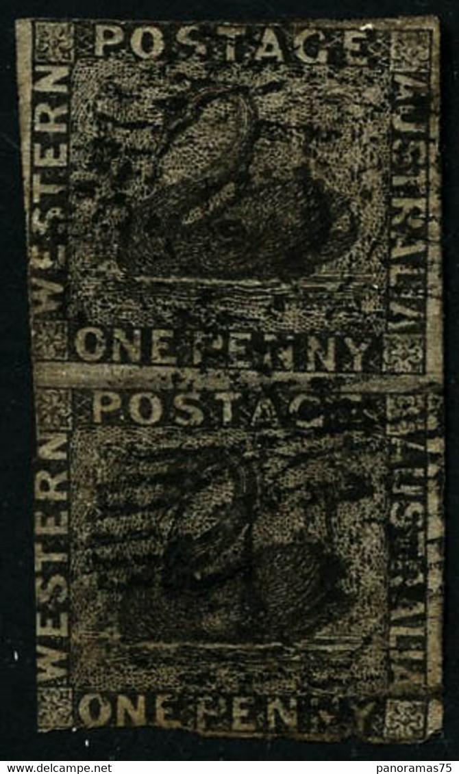 Oblit. N°1 1p Noir, Paire Verticale, Touché - B - Unclassified