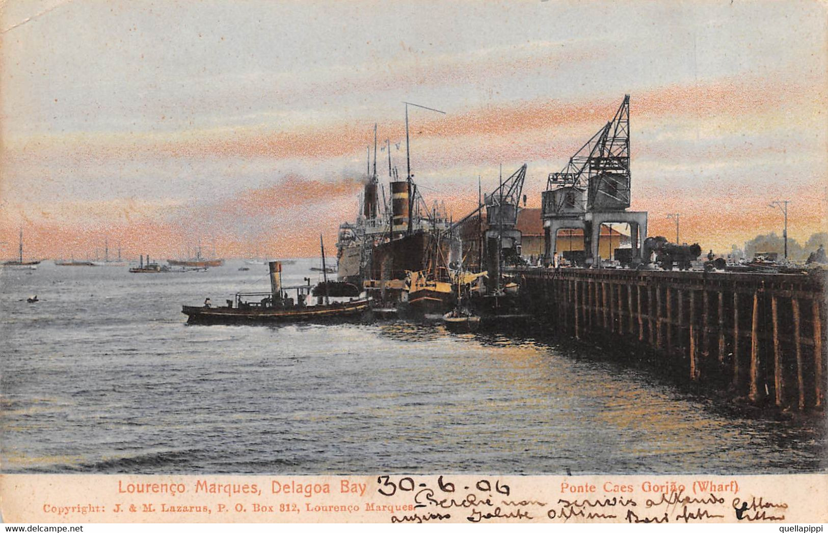 """M011588 """" LOURENÇO MARQUES-DELAGOA BAY-PONTE CAES GORJÃO (WHARF)"""" MOLO-GRU-PIROSCAFO-VAGONI-VERA FOTO CART SPED 1906 - Mozambique"""