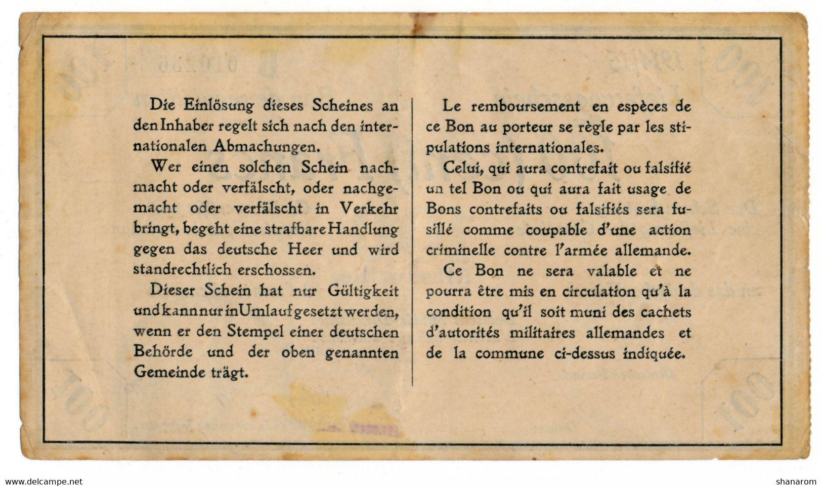 1914-1915 // BON DEICHMANN // Commune De RIBEAUVILLE (Aisne) // Bon De 100 Francs - Bonds & Basic Needs