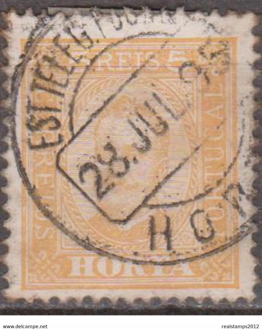 HORTA (Açores)-1892-1893,  D. Carlos I.Tipos De Portugal C/ Legenda «HORTA»  5 R. (P.porc.)   D.12 1/2  (o)  Afinsa Nº 1 - Horta