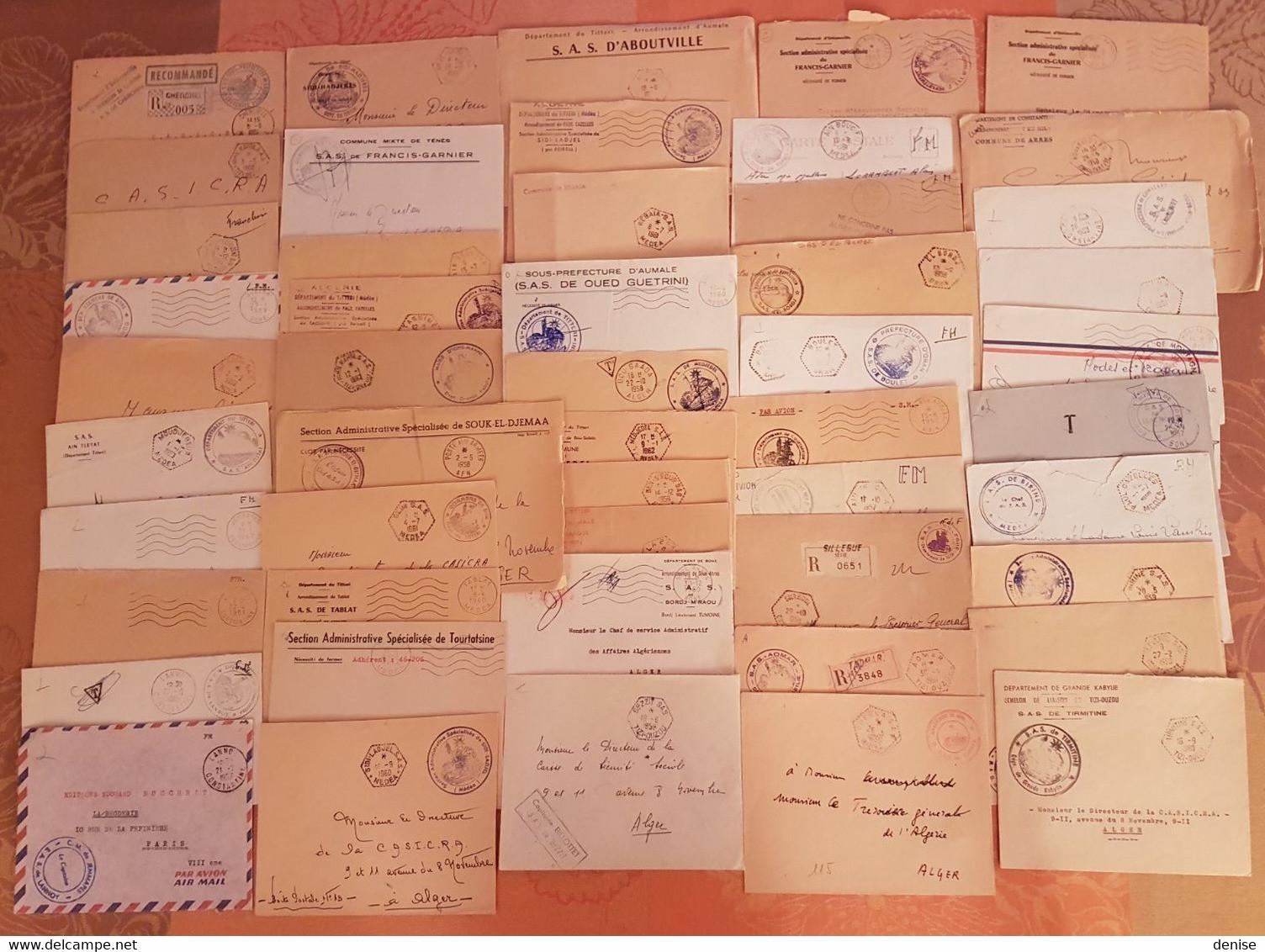 Algerie Française - Lot De 50 Lettres En Franchise Militaire - DEPART 1 EURO - Années 1957-1962 - Covers & Documents