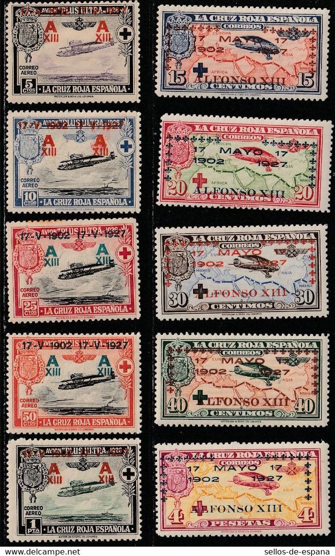 1927. * Edifil: 363/72. CRUZ ROJA HABILITADA AEREA - Unused Stamps