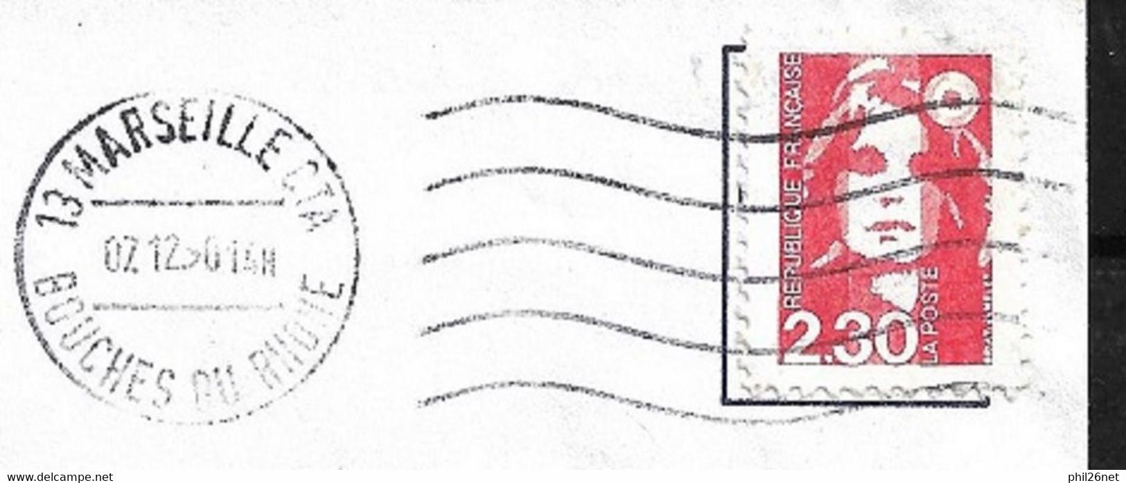 FRANCE Rare Le N°2614f  (Dallay N°2660c) Faux De Marseille Pour Tromper La Poste Sur Lettre Circulée Le 07/12/1990 ! ! ! - Varieties: 1980-89 Used