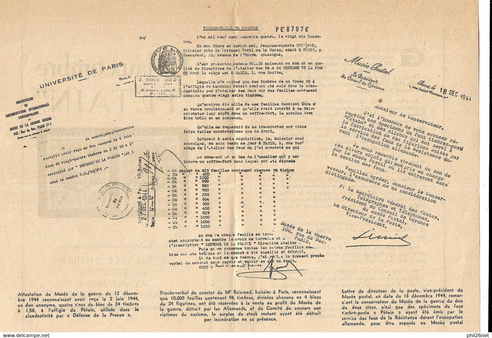 """Rare Deux Blocs Faux Pétain N° 517e Et 517f Brun Noir """"Faux Pour Servir émis  Neufs (*) Par La Résistance En 1944 SOLDES - Unused Stamps"""