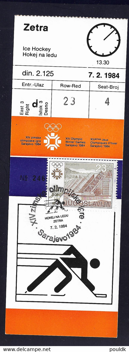 Yugoslavia Ticket 1984 Sarajevo Olympic Games Icehockey Match 7.2.1984 Italy Vs Sweden (LE14) - Winter 1984: Sarajevo