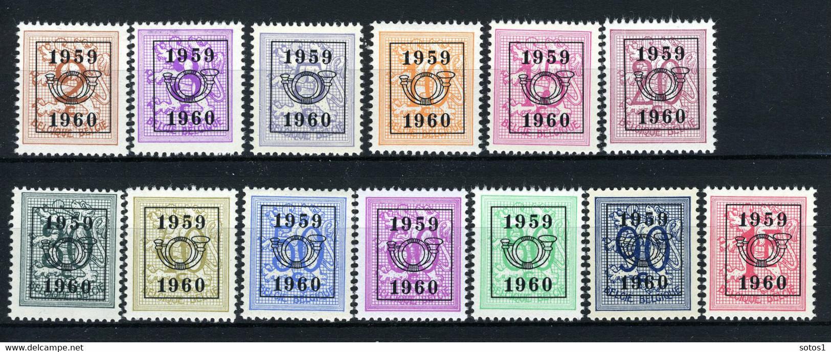 PRE686/698 MNH** 1959 - Cijfer Op Heraldieke Leeuw Type E - REEKS 52 - Sobreimpresos 1951-80 (Chifras Sobre El Leon)