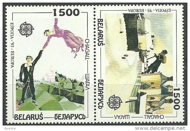 CEPT 1993 Biélorussie Wit-Rusland Belarus Yvertn° 56-57 *** MNH Se Tenant Chagall - 1993