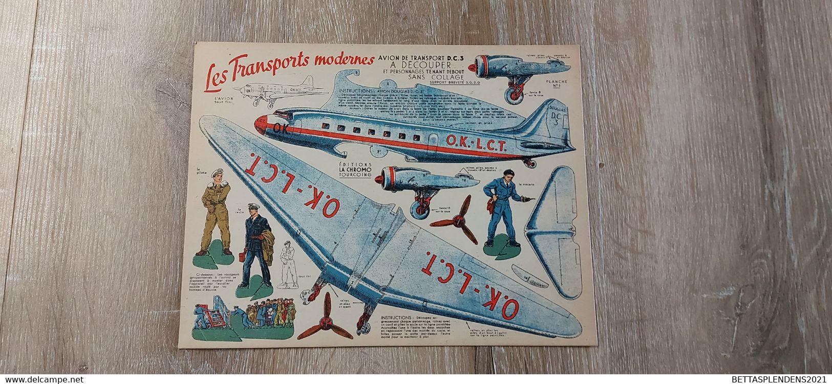 """Avion De Transport DC3 - A DECOUPER Et Personnages Tenant Debout Sans Collage - """"Les Transports Modernes"""" - Other"""