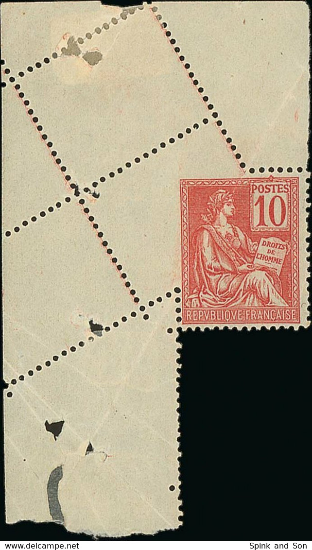 """France 1900-02 """"Mouchon"""" Issue 10c. Red Type II, From The Upper Left Corner Of The Sheet And Showing Misplaced Perforati - 1900-02 Mouchon"""