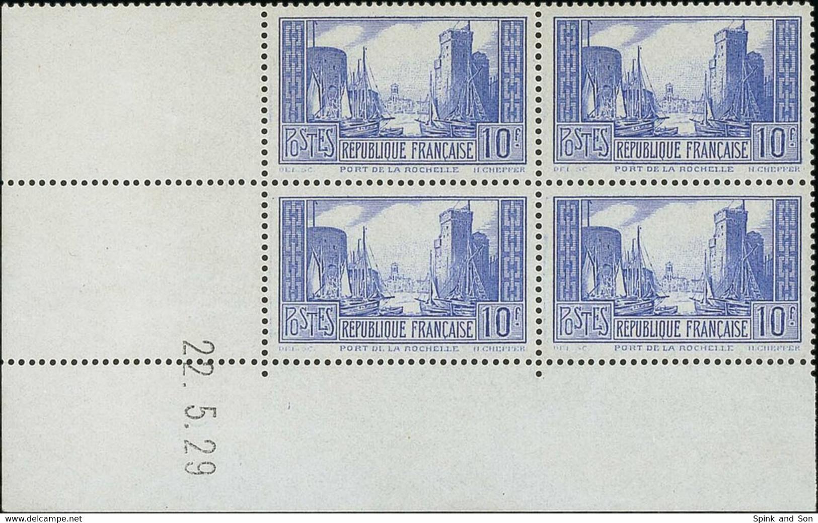"France 1929-33 ""Tourist"" Issue 10f. Port De La Rochelle 10f. Ultramarine, Type I, Coin Daté (22.5.29) Block Of Four, Unm - Unused Stamps"