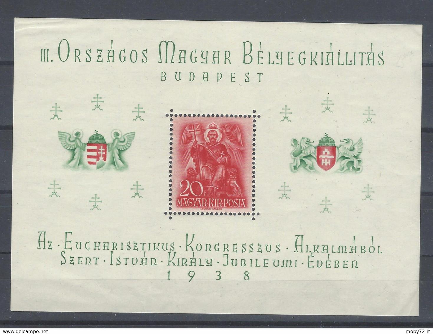 Ungheria - 1938 - Nuovo/new MNH - Szent Istvan - Mi Block 2 - Blokken & Velletjes