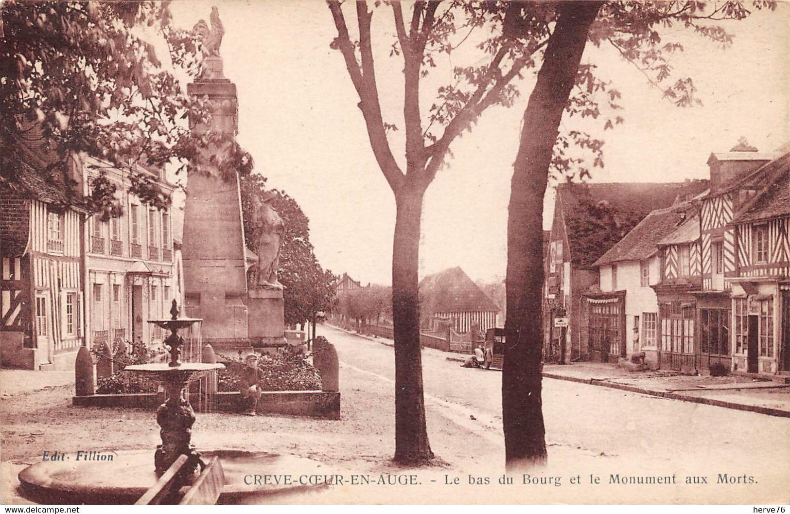 CREVE COEUR EN AUGE  - Le Bas Du Bourg Et Le Monument Aux Morts - Other Municipalities