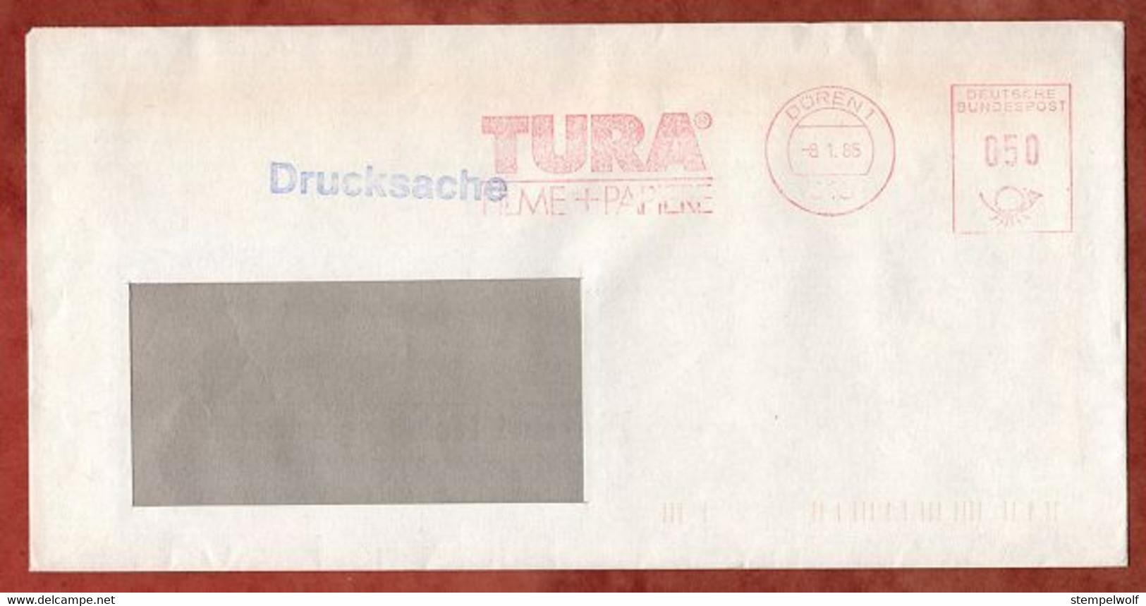 Drucksache, Absenderfreistempel, Tura Filme + Papiere, 50 Pfg, Dueren 1985 (99644) - Machine Stamps (ATM)
