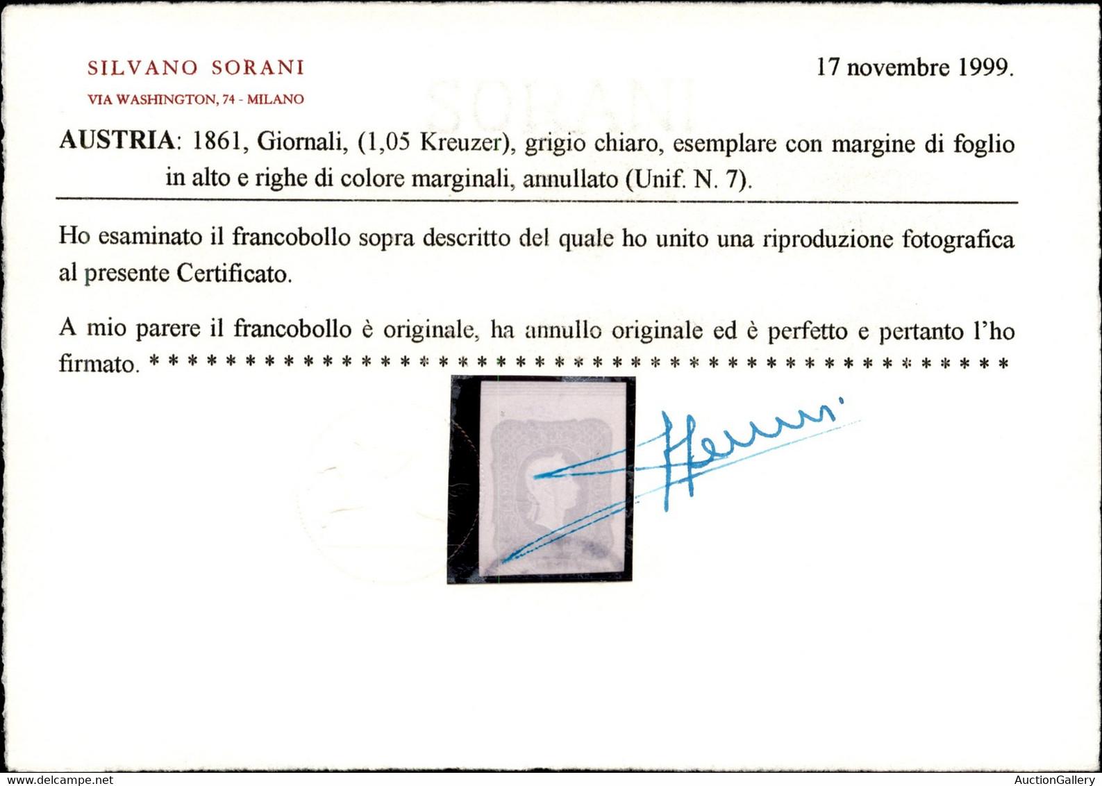 EUROPA - AUSTRIA - 1861 - Per Giornali - 1,05 Kreuzer (23) Usato Bordo Foglio In Alto Con Righe Marginali - Cert. Sorani - Sin Clasificación