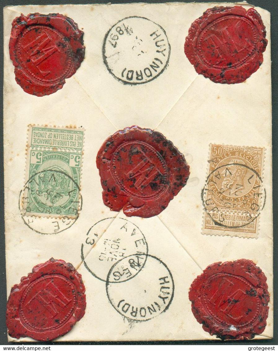 """N°56-62 - 5c. Vert + 50c.. Bistre Obl. Sc LIEGE (VALEURS) Sur Enveloppe ASSURE (griffe Encadrée) Manuscrit """"Valeur 600 - 1893-1900 Schmaler Bart"""