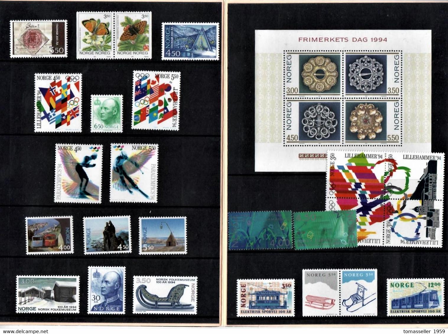 NORWAY 10 Year (1994-2002 Y.y.) Sets.Almost 70 Issues - Unused Stamps