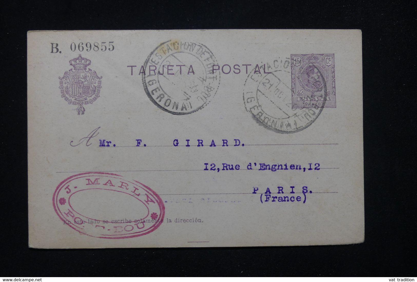 ESPAGNE - Entier Postal De Port Bou Pour Paris En 1920 - L 78685 - 1850-1931